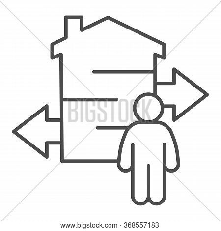 Man With Arrows And Building Thin Line Icon, Smart Home Concept, Technology Vector Sign On White Bac