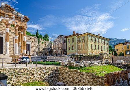 Brescia, Italy, September 11, 2019: Capitolium Of Brixia Or Temple Of Capitoline Triad Or Tempio Cap