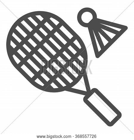 Racket And Shuttlecock Line Icon, Sport Concept, Badminton Sign On White Background, Badminton Sport