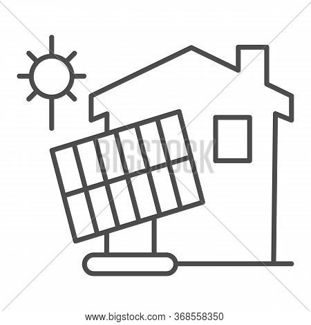 Solar Battery And Building Thin Line Icon, Smart Home Concept, Solar Panels And Clean Energy At Home