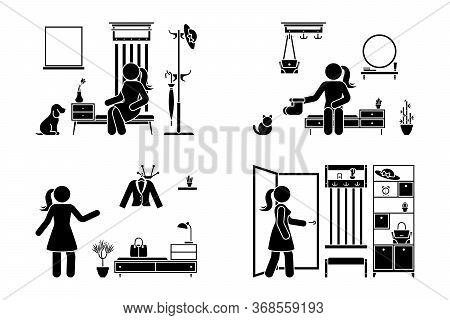 Apartment Hallway Design Vector Illustration Icon Set. Stick Figure Woman In Foyer Entrance Black An