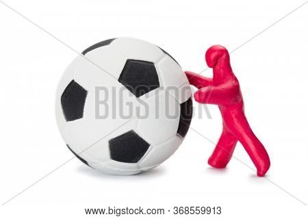 small boy soccer player with a soccer ball isolated on white