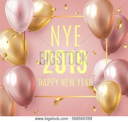 Vector Stock Elegant Pink Balloon Party Happy New Year Celebration Festival Background. Nye 2019 Con