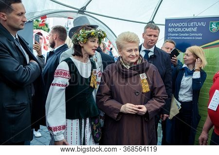 Vilnius, Lithuania - July 1, 2018: President Dalia Grybauskaite Opens The Day Of World Lithuanian Or