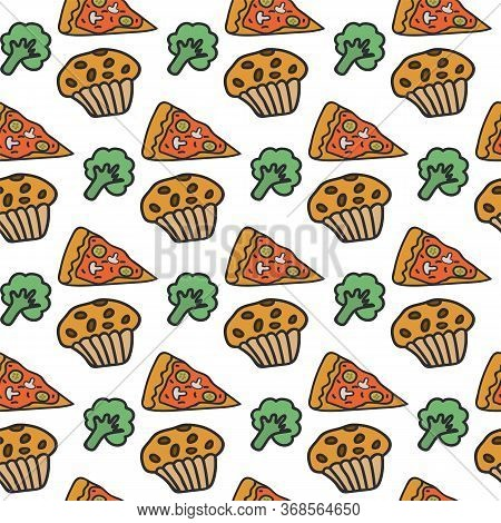 The Background Of The Food. Food Texture Is Drawn By Hand. Background Drawing Of Pizza, Cupcake And