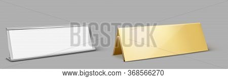 Table Card Holder, Empty Name Plate. Vector Realistic Mockup Of Golden And Metal Stand For Identific