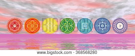 Seven Chakra Symbols On The Horizon Line By Pink Sunset - 3d Render
