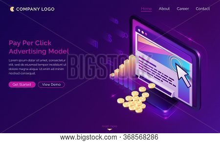 Pay Per Click Isometric Landing Page, Computer With Cursor Clicking On Ad Button, Money Falling From