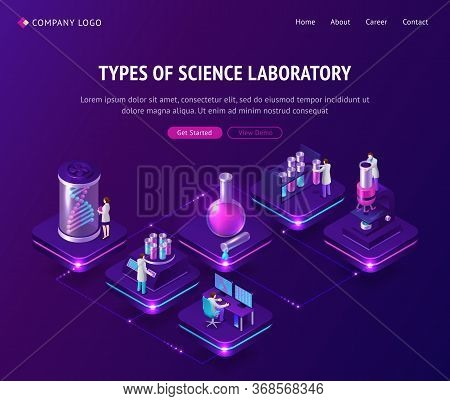 Vaccine Development In Laboratory Isometric Landing Page, Scientists Working In Lab With Medical Bot
