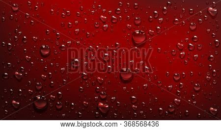 Water Droplets On Red Background. Vector Realistic Illustration Of Condensation Of Steam In Shower O