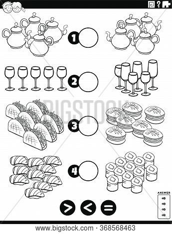 Black And White Cartoon Illustration Of Educational Mathematical Puzzle Task Of Greater Than, Less T