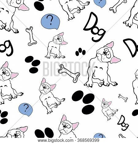 Seamless Pattern In Doodle Style With Dogs. Dog Toy Puppy Vector. Paw Footprints Dog And Bones On A