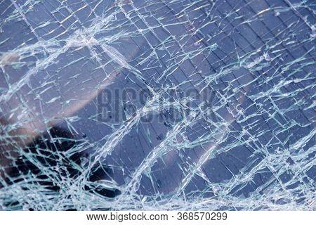 Broken After The Accident Windshield.broken Windshield.broken Glass Glass In Cracks.