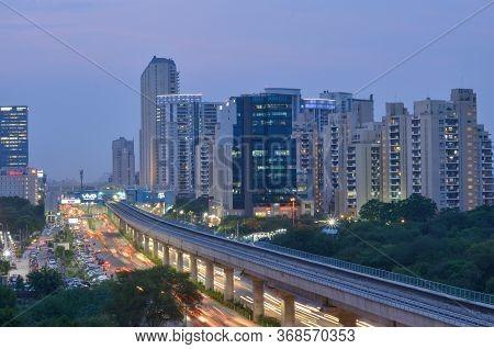 New Delhi, India, 2020. Aerial Shot Of Rapid Metro Tracks In Urban Areas Of New Delhi Ncr, Gurugram,