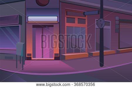 Street Stock Vector Illustration. Illustration Of A Street In Purpur. Illustration Of A Night City I