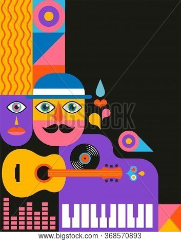 Geometric Abstract Background, Street Wall Art Concept, Festival, Street Fair, Carnival Event Poster