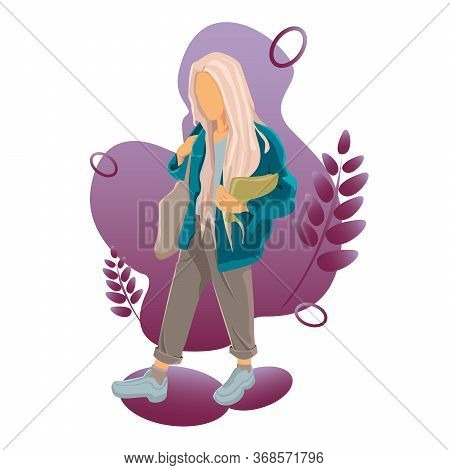 Beautiful Young Girl With Bag.girl Vector Illustration Isolated On White Background. Girl In Sneaker