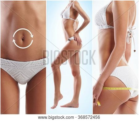 Fit, Young And Beautiful Female Body. Fat Lose, Health, Sport, Fitness, Nutrition, Liposuction, Heal