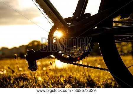 Pedals On The Bike. Close-up Speed Control Asterisk At Sunset