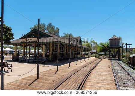 Old Poway Park And Village With Poway Midland Railroad Train Station, Poway, California, Usa. April