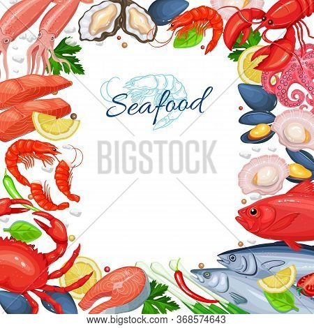 Seafood Menu Design. Fish Dish Page Template. Vector Illustration Of Seafood Product Mussel, Fish Sa
