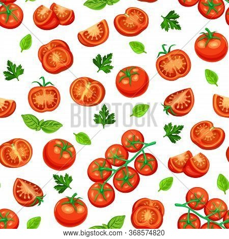 Seamless Pattern Red Tomato On A Branch And Slices. Vector Vegetables Of Tomatoes For Sauces Or Food