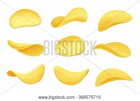Potato Chips Set Vector Illustration. Crispy Snack, Potato In The Form Of Crispy Plates Fried In Veg