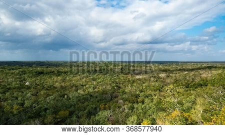 Big Tropical Forest With Clouds And A Peaceful Vibe From The Top Of A Pyramid In Coba, Quintana Roo,