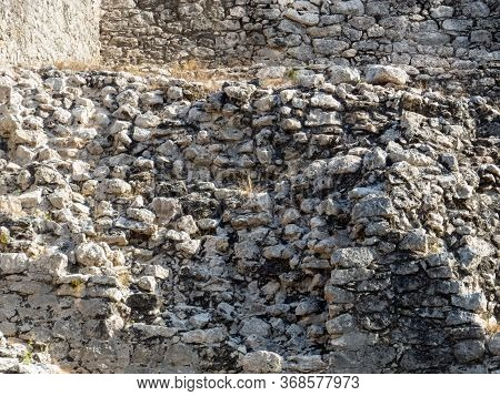 Stone Bricks From The Mayan Empire In The Tropical Ruins Of Coba In Quintana Roo, Mexico.