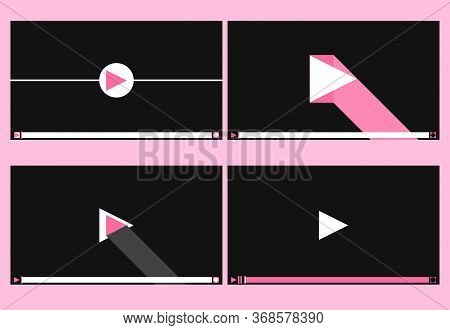 Player Screen. Media Player Isolated Set. Movie Online Player. Vector Illustration
