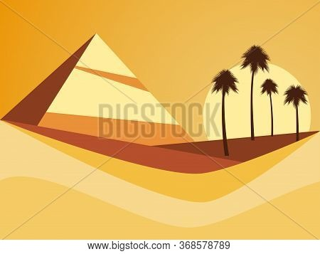 Desert Landscape With A Pyramid And Palm Trees. Desert With Dunes In Flat Style. Vector Illustration