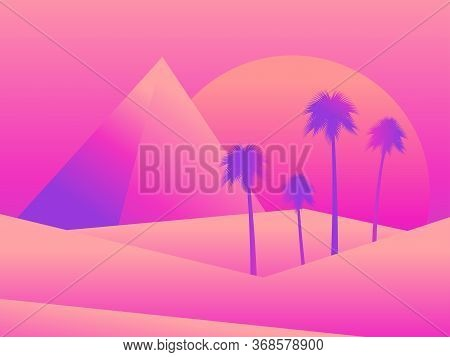 View Of The Egyptian Pyramids And Palm Trees In The Desert. Colorful Gradients. Desert Landscape Wit