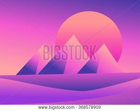 View Of The Egyptian Pyramids In The Desert. Colorful Gradients. Desert Landscape With Dunes On A Su
