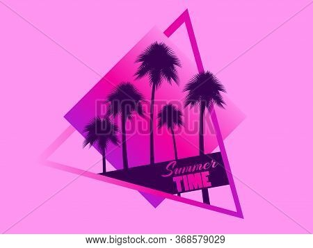 80s Retro Sci-fi Palm Trees On Pink Background. Retro Futuristic Cube With Palm Trees. Summer Time.