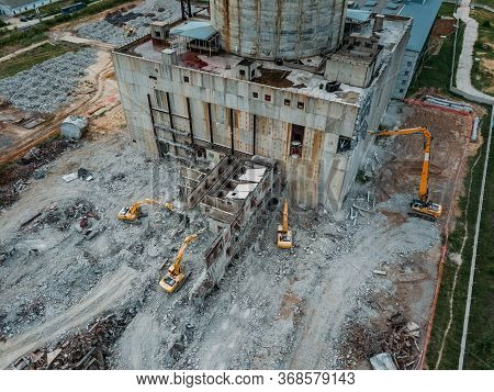 Aerial View Of Demolition Site. Process Of Demolition Of Old Industrial Building