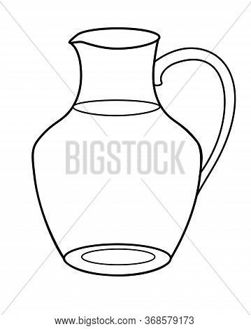 Glass Transparent Jug - Vector Linear Picture For Coloring. Glass Carafe For Drinks. Outline.