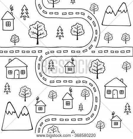 Vector Seamless Pattern Of Black Outline Hand Drawn Doodle Sketch Country Landscape With Houses And