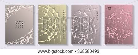 Biotechnology And Neuroscience Vector Covers With Neuron Cells Structure. Overlaying Waves Ripple Te