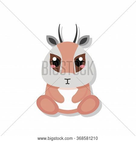 Isolated Cute Baby Antelope. Wild Animal - Vector Illustration