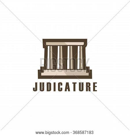 Judicature Court Building Minimalist Logo Vector, Punishment, Roman