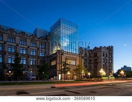 Ottawa, Ontario, Canada - September 30, 2019: The Outside Of The Canadian Museum Of Nature At Night