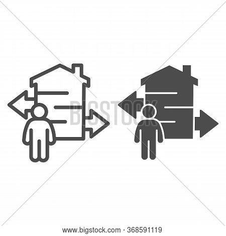 Man With Arrows And Building Line And Solid Icon, Smart Home Concept, Technology Vector Sign On Whit