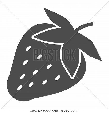 Strawberry Solid Icon, Fruits Concept, Strawberries Sign On White Background, Ripe Strawberry With S