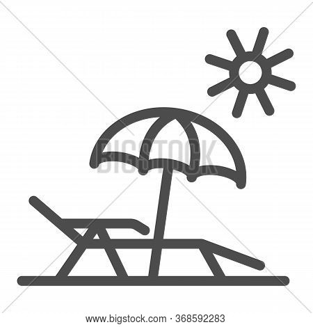 Chaise Lounge On Beach Line Icon, Summer Concept, Deck Chair With Umbrella Sign On White Background,