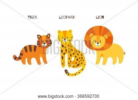 Big Cats Trio. Leopard, Tiger And Lion In One Vector Illustration. Portrait Of Big Cats Family