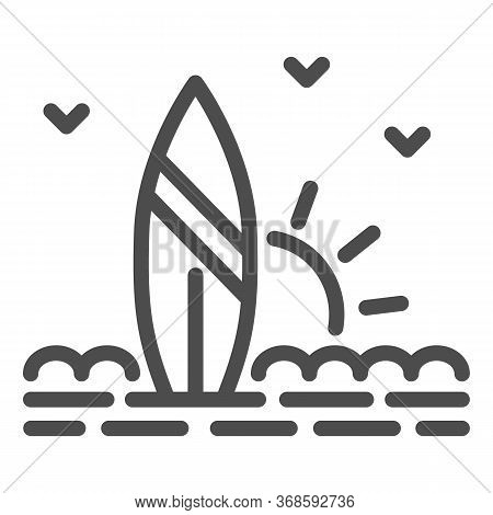 Surfboard And Beach With Sunset Line Icon, Summer Concept, Surf Sign On White Background, Surfboard