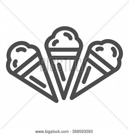Three Ice Creams Line Icon, Summer Concept, Set Of Ice Cream Cones Sign On White Background, Ice-cre
