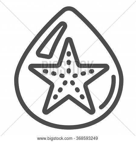 Starfish In Drop Of Water Line Icon, Summer Concept, Starfish Sign On White Background, Droplet With