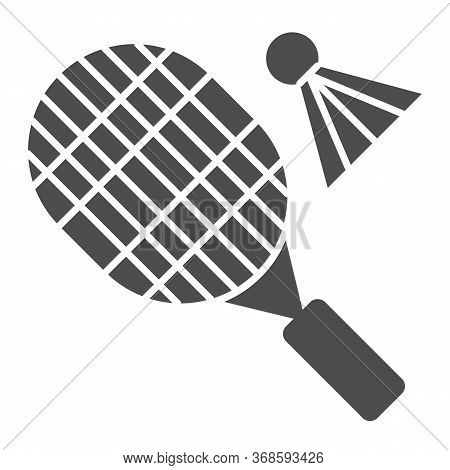 Racket And Shuttlecock Solid Icon, Sport Concept, Badminton Sign On White Background, Badminton Spor