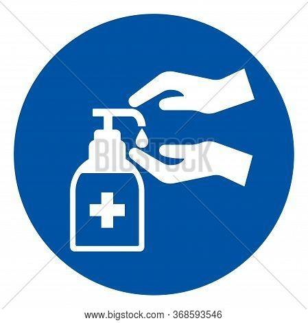 Please Use Hand Sanitiser Symbol Sign, Vector Illustration, Isolate On White Background Label. Eps10